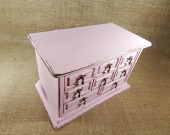 Pink Jewelry Box Upscaled Wood Vintage