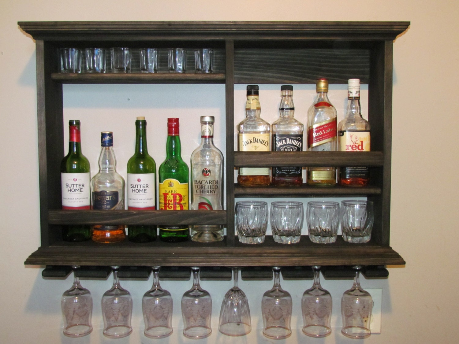 Mini bar ebony stain wine rack 3 x 2 liquor cabinet by for Small bar cabinet
