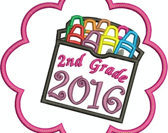 Flower 2nd Grade 2016 Box of Crayons Machine Embroidery Applique design 051
