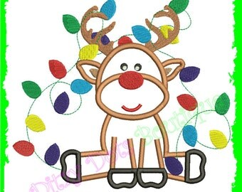 Reindeer Boy with Lights setting, Machine Embroidery design