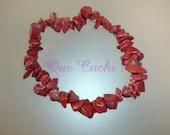 Bracelet baroque chips de Jaspe rouge