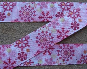"""7/8"""" Pink Snowflake Ribbon 3 yards Grosgrain Ribbon Hair Bow Ribbon Christmas Ribbon Winter ribbon Holiday Ribbon"""