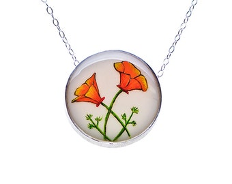 California Poppy Medium Round Necklace set in Sterling Silver