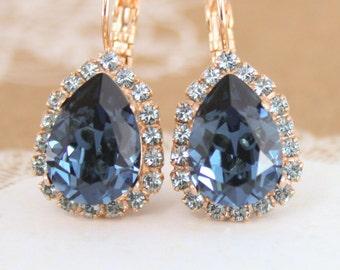 Blue crystal earrings,Blue Swarovski earrings,Swarovski Montana,blue teardrop earrings,blue statement earrings,rose gold earrings,teardrop