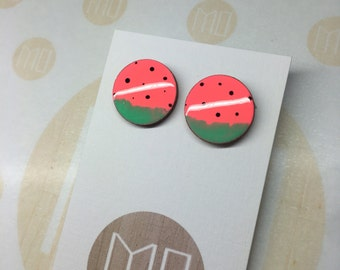 Neon Watermelon Statement Earrings Surgical Stainless Steel Parts 20mm