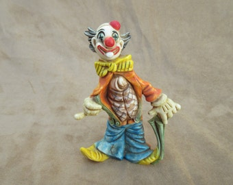 Vintage Circus Clown Figurine, Hard Resin, Made in Italy