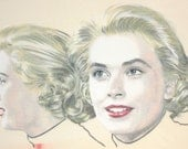 One-off hand-drawn portrait of Grace Kelly, in charcoal and pastel on calico