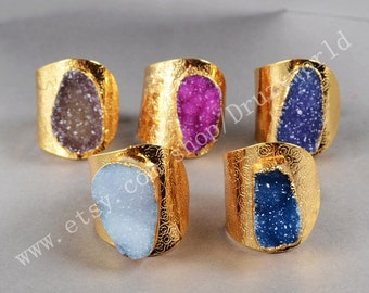 Wholesale Gold Plated Natural Rainbow Agate Druzy Geode Adjustable Ring Sparkle Crystals Natural Stone Band Ring Gemstone Jewelry G0123
