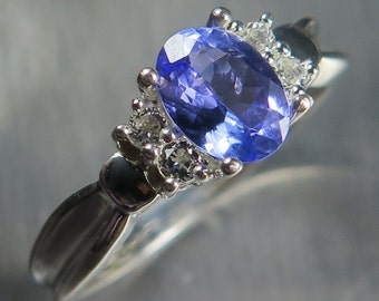 0.85ct Natural Blue Tanzanite oval cut & white topaz 925 sterling silver engagement ring all sizes