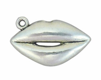 BULK 40 Silver Lips Charm Pendant 15x24mm by TIJC SP0691B