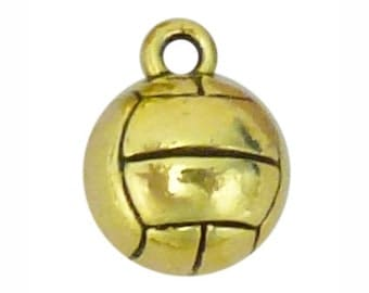 5 Gold Volleyball Charm Pendant 14x11mm by TIJC SP1230