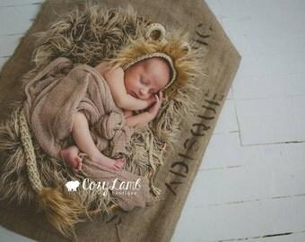 Crochet Lion Bonnet and Tail Set with Faux Fur- Newborn & 6-12 Months