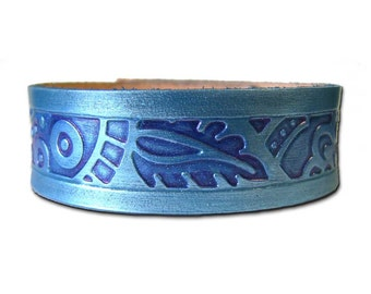 Just Leather Blue Tooled Cuff Bracelet
