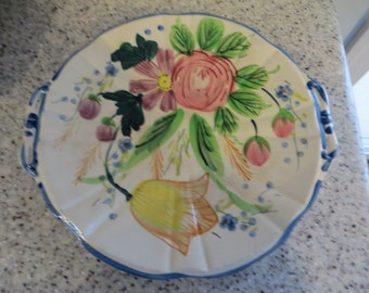 Vintage Platter with hand painted flowers