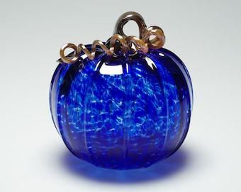 Hand blown Small Blue Glass Pumpkin