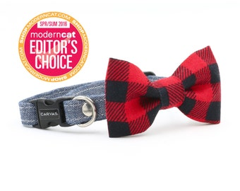 Skylar Cat Collar + Bow Tie Set with Breakaway Safety Buckle - Black Red Check Denim - Kitten Size Available