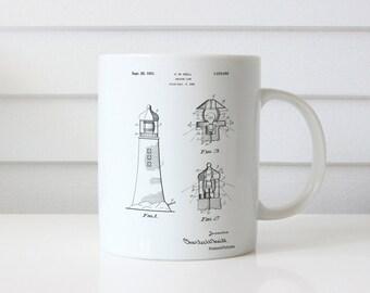 Lighthouse Patent Mug, Lighthouse Decor, Beach House Mug, New England Mug, Seaside Decor, Maine Mug, PP0941