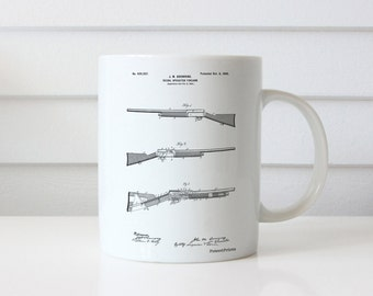Browning Auto 5 Shotgun 1900 Patent Mug, Gun Enthusiast, Firearm, Hunter Gift, Duck Hunting, Cabin Mug, PP0754