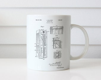 Telephone Booth Patent Mug, London Phone Booth, Phone Booth, Vintage Mug, Antique Telephone, Telephone Box, PP1088