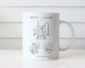 Portable Router Patent Mug, Woodworking Tools, Tool Mug, Unique Dad Gift, Man Cave, Garage Decor, PP1025