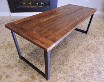 Barn Wood Coffee Table. Vintage, Rustic look, steel base.