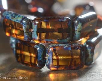 NEW! Dark Tortoise Tiles (10) - Czech Glass Bead - 8x12mm - Polished Rectangle