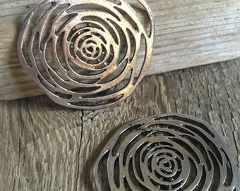 Filigree Rose Flower Modern Abstract Focal - Silver Plate - Focal, Pedant, Jewelry Supplies - 50mm - 02 Each