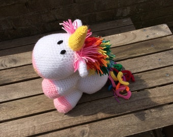 Crochet Rainbow Unicorn soft toy plushy
