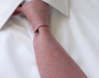 Coral Blue Chambray Linen Necktie- Terracotta Linen Tie- Men's Tie- Wedding Ties- Groomsmen Neckties