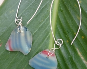 Striped FLASHGLASS earrings wrapped in sterling silver wire