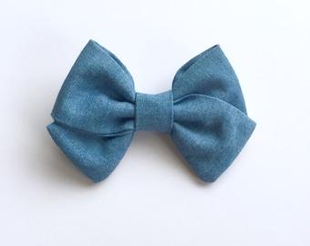 Denim Bow...Headband...Baby Gift