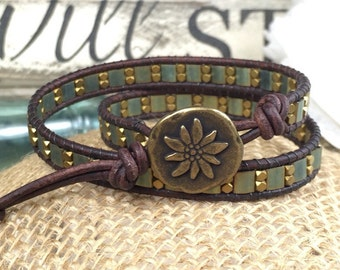 Gold and Teal Sun Leather Wrap Bracelet