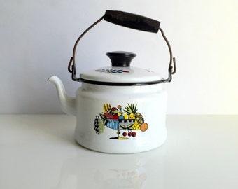 Mid Century Enamelware Tea Kettle / Tea Pot