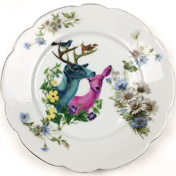 Deer couple - Vintage Porcelain Plate - #0419