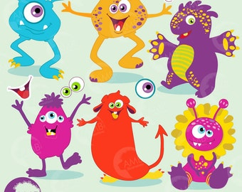 Monster clipart, cute monsters clipart, vector graphics, commercial use, digital clipart, instant download, AMB-119