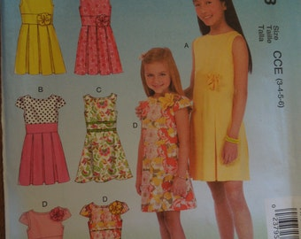 McCalls M7078, sizes 3-6, dresses, girls, childrens, UNCUT sewing pattern, craft supplies