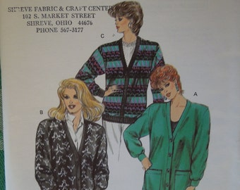 Kwik Sew 1538, sizes XS-Large, misses, womens, cardigan, UNCUT sewing pattern,craft supplies, outerwear, stretch knit