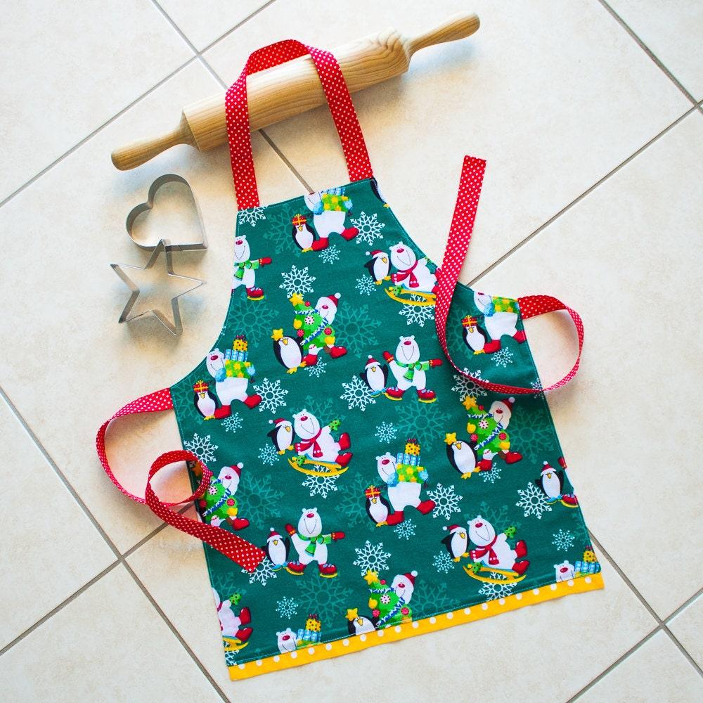 Kids Christmas Apron green childs kitchen craft play art