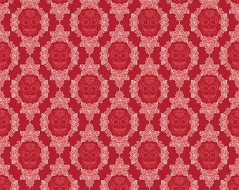 Riley Blake 0.5m 100% Cotton Fabric. Red Skull and Roses. C4744