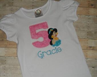 Baby Toddler Girls custom applique Princess Jasmine birthday shirt 12 18 24 months 2t 3t 4t 5t
