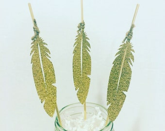 Gold feather food picks/ cupcake toppers