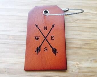Custom Luggage Tag, Arrows, Baggage Tag, Fine Leather, Bridal Shower Favor, Destination Wedding Gift, Personalized Travel Tag, Girlfriend