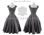 "Knee Length 38"" Grey Cherrybomb Swing Dress by HARDLEY DANGEROUS 1950s Rockabilly Bridesmaid Wedding Party Dress, Pin Up Semi Formal"