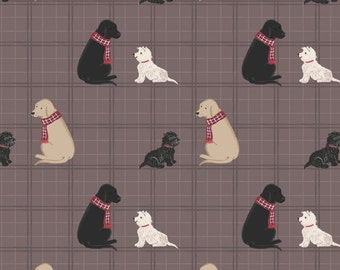 Lewis & Irene Patchwork Quilting Fabric A Walk in the Glen - A158.2 Dogs on Soft Brown Check