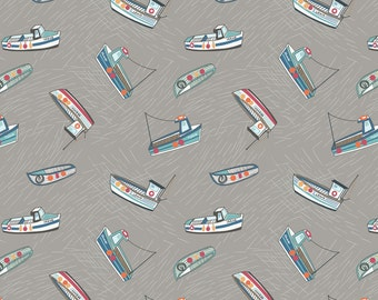 Lewis & Irene Harbour Side Patchwork Quilting Fabric A178.1 - Fishing boats on grey