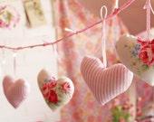 Fairy Light Banner Heart Garland Bunting Lighted Fabric Hearts Wall Hanging Lights Girl Decor Baby Nursery Shabby Chic Shower Gift Kids Room