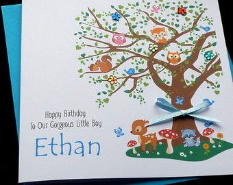 Woodland Tree Personalised Childrens Birthday Card