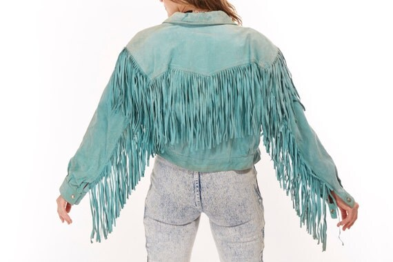 Vtg 80s TEAL FRINGE Leather Jacket cropped SUEDE Rocker Retro Hippie Festival Psychedelic Boho Statement Southwestern Country Western Gypsy