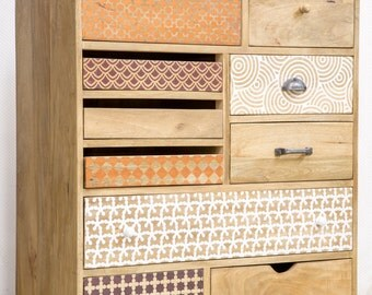 Convenient wood multi-drawer printed