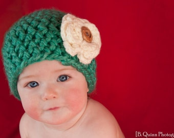 Teal Beanie with Cream Flower